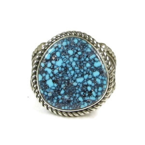 Spider Web Kingman Turquoise Ring Size 9 by Albert Jake