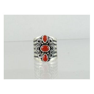 Handmade Sterling Silver Coral Ring Size 7 1/2