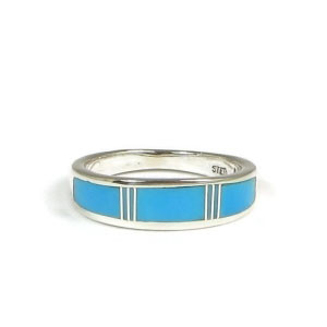Turquoise Inlay Band Ring Size 4 1/2