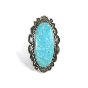 Handmade Water Web Kingman Turquoise Ring Size 9 - Albert Jake