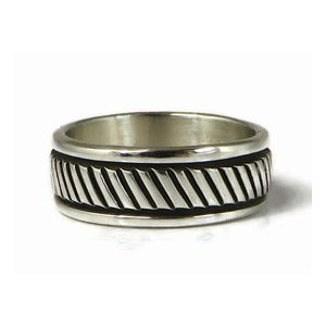 Sterling Silver Band Ring Size 7 by Bruce Morgan, Navajo (RG3692)
