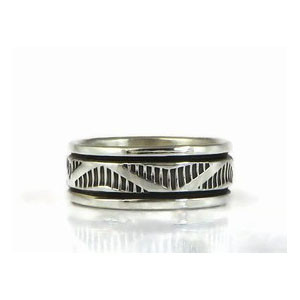 Sterling Silver Band Ring Size 7 by Bruce Morgan, Navajo (RG3697)