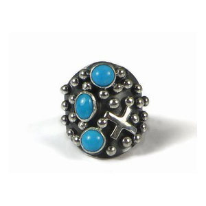 Sterling Silver Sleeping Beauty Turquoise Cross Ring Size 6 1/2 by Ronnie Willie, Navajo