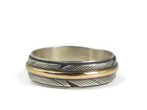 12k Gold & Sterling Silver Feather Ring Size 8 1/2 by Lena Platero (RG3800-S8.5)