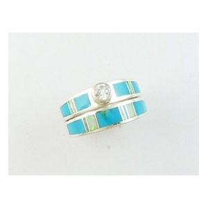 Sleeping Beauty Turquoise & Opal Inlay Wedding Band Ring Size 7 (RG4080)