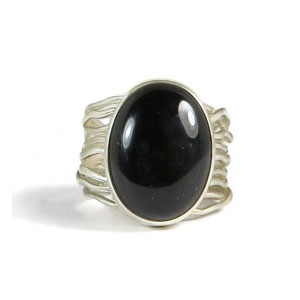 Black Onyx Silver Branch Wire Ring Size 5