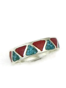 Turquoise & Coral Chip Inlay Ring Size 12