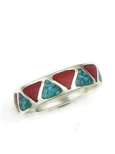 Turquoise & Coral Chip Inlay Ring Size 6