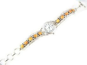 Sterling Silver Orange Spiny Oyster Shell Toggle Watch Bracelet