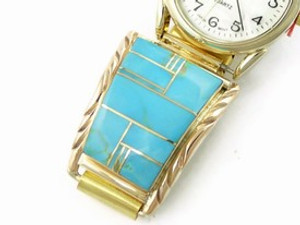 12k Gold & Sterling Silver Turquoise Inlay Watch