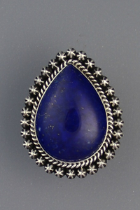 Handmade Silver Tear Drop Lapis Ring Size 7 1/2 by Happy Piaso