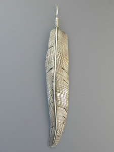 "Large Silver Feather Pendant 6"" (PD4617)"
