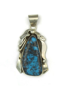 Natural Chinese Turquoise Gem Pendant by Ted Secatero