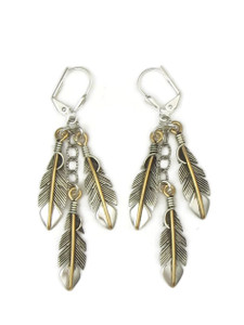 12k Gold & Sterling Silver Three Feather Earrings