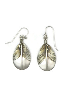 "Sterling Silver Feather Earrings 1 1/2"" by Lena Platero"