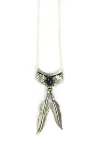 Onyx Silver Feather Necklace