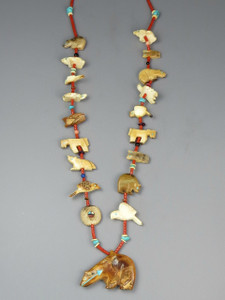 SOLD - Fossilized Ivory & Coral Fetish Necklace by Zuni Artist, Georgia Quandelacy