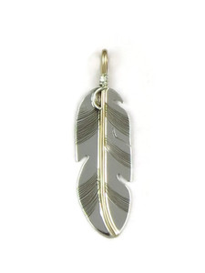 12k Gold & Sterling Silver Feather Pendant by Lena Platero