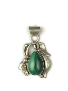 Silver Malachite Pendant by Les Baker Jewelry