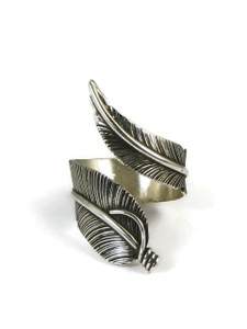 Sterling Silver Wide Feather Wrap Ring Size 6 Adjustable by Lena Platero