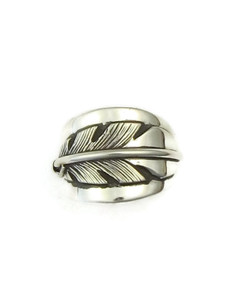 Silver Feather Ring Size 7 1/2 by Lena Platero