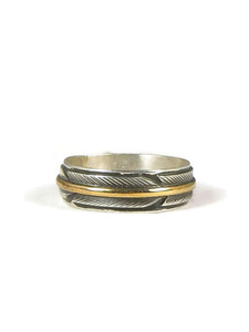 12k Gold & Silver Feather Band Ring Size 7 by Lena Platero