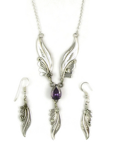 Sterling Silver Amethyst Feather Necklace Set by Les Baker Jewelry