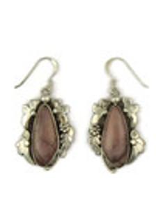 Silver Pink Jasper Earrings by Les Baker Jewelry