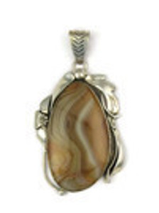 Montana Agate Pendant by Les Baker Jewelry