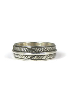 Sterling Silver Feather Band Ring Size 4 by Lena Platero