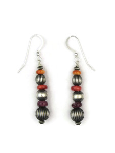 Tri Color Spiny Oyster Shell Silver Bead Earrings