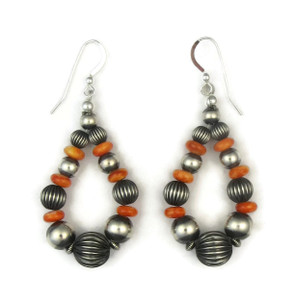 Spiny Oyster Shell Silver Bead Loop Earrings