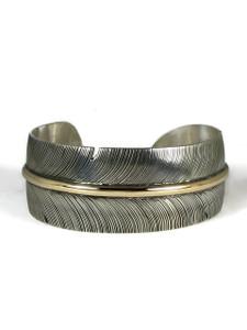 "12k Gold & Sterling Silver Feather Bracelet 1"" by Lena Platero"