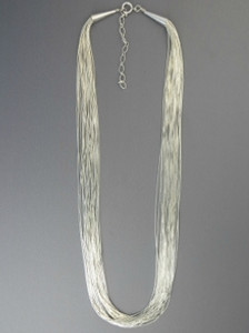 "20 Strand Liquid Silver Necklace 24"" Adjustable Length"