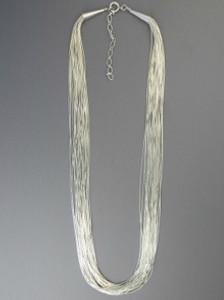 "20 Strand Liquid Silver Necklace 24"" Adjustable Length"