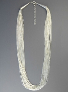 "30 Stand Liquid Silver Necklace 24"" with Extender Chain"