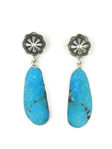 Turquoise Slab Silver Concho Earrings by Ronald Chavez (ER3684)