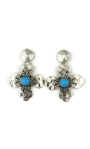Sleeping Beauty Turquoise Hammered Silver Cross Earrings by Diane Wylie