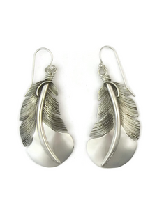 "Sterling Silver Feather Earrings 2"" by Lena Platero (ER3707)"