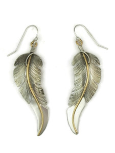 "12k Gold & Sterling Silver Feather Earrings 2 5/8"" by Lena Platero"