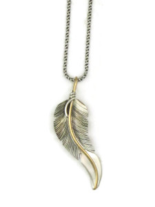 12k Gold & Silver Feather Pendant by Lena Platero