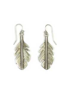 Broad Silver Feather Earrings by Lena Platero