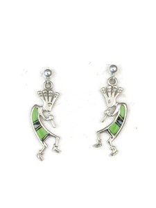 Gaspeite, Jet & Opal Inlay Kokopelli Earrings