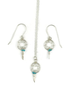 Sterling Silver Turquoise Dream Catcher Earring & Pendant Set (ER3654)