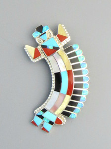 Multi Gemstone Rainbow Dancer Inlay Pendant Pin by Zuni Vivca Bowannie