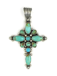 Kingman Turquoise Cross Pendant by Geneva Apachito (PD4923)