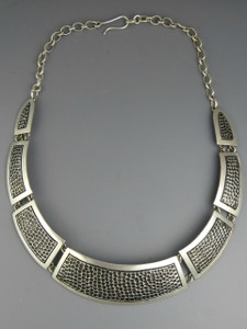 Textured Silver Collar Necklace