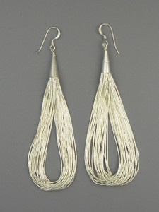 "20 Strand Liquid Silver Earrings 3 1/2"""
