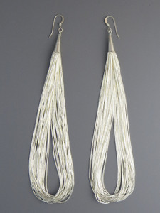 20 Strand Liquid Silver Earrings 5""