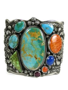 Royston Turquoise & Gemstone Wide Cuff Bracelet by Darryl Becenti